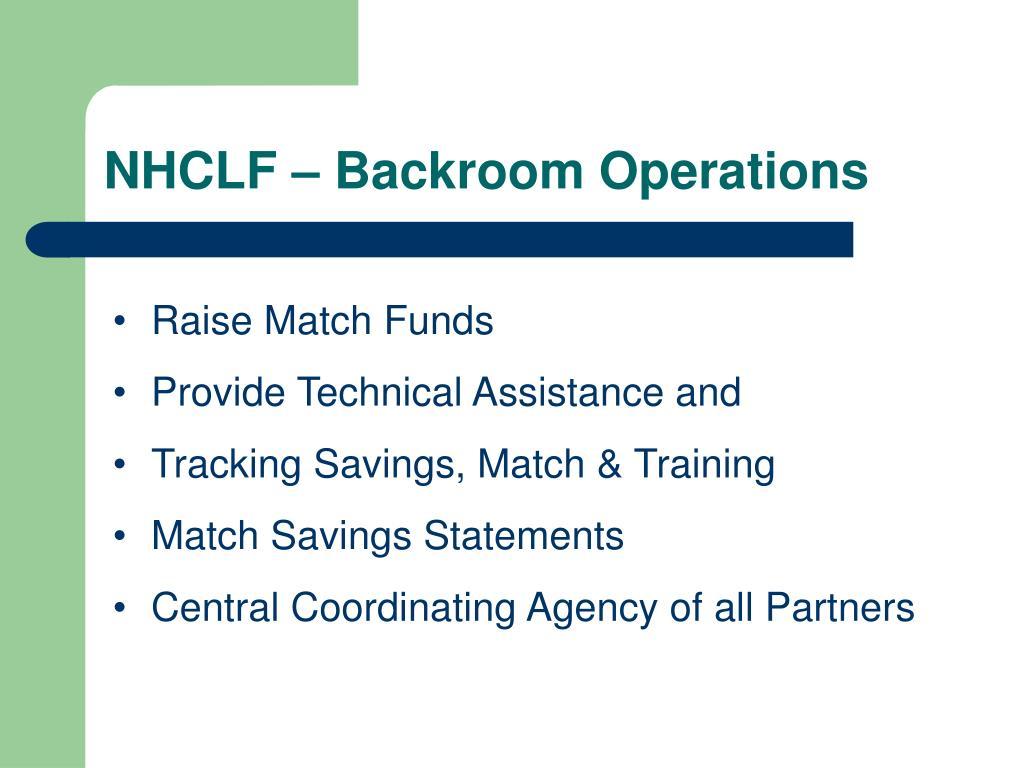 NHCLF – Backroom Operations
