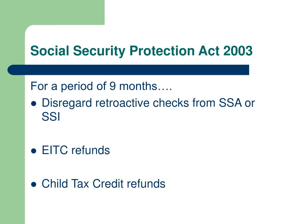 Social Security Protection Act 2003