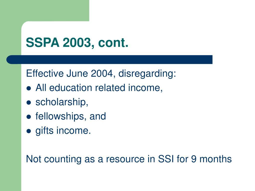 SSPA 2003, cont.