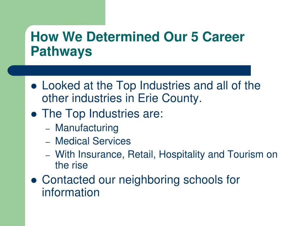 How We Determined Our 5 Career Pathways