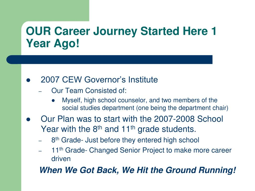 OUR Career Journey Started Here 1 Year Ago!