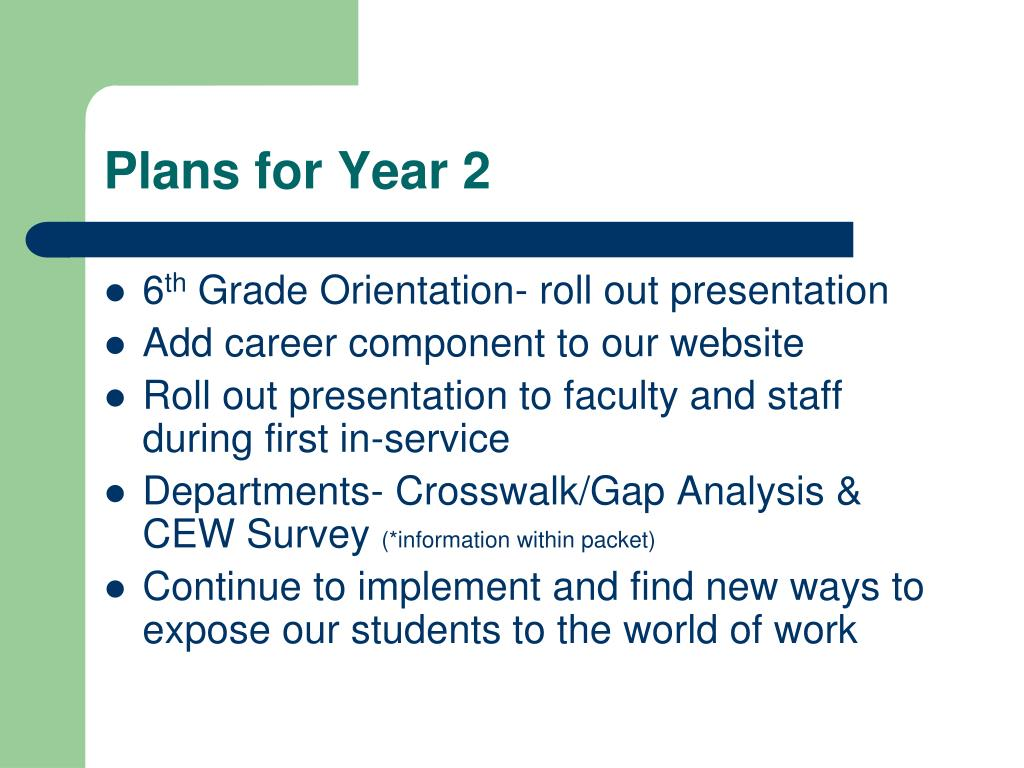 Plans for Year 2
