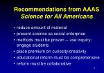 recommendations from aaas science for all americans