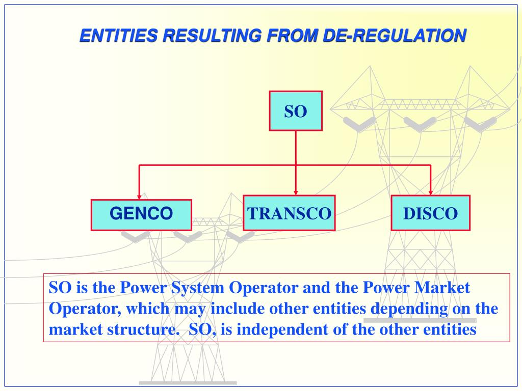ENTITIES RESULTING FROM DE-REGULATION