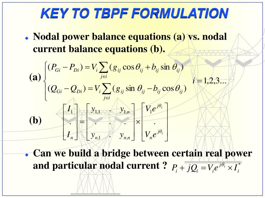 KEY TO TBPF FORMULATION