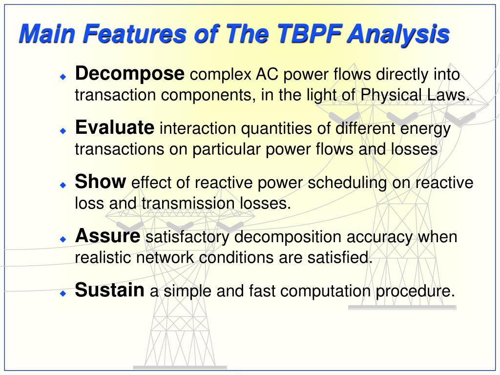 Main Features of The TBPF Analysis