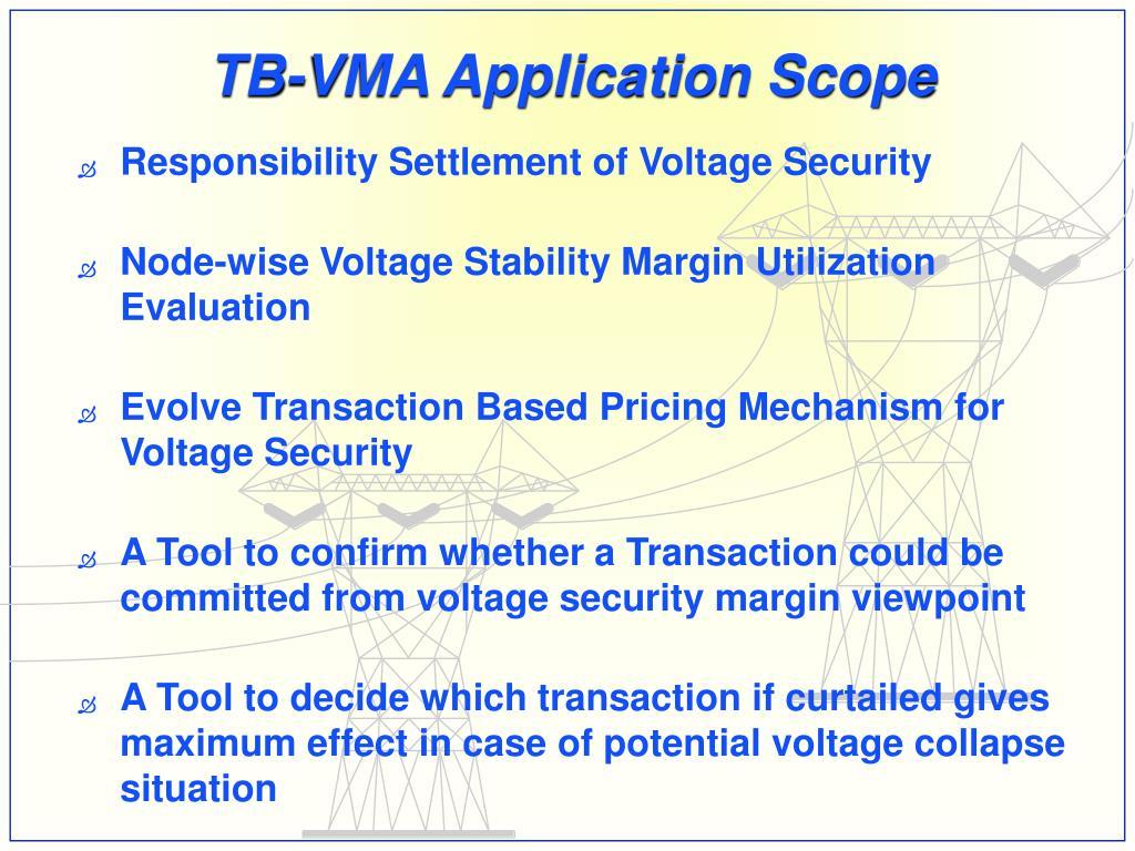TB-VMA Application Scope