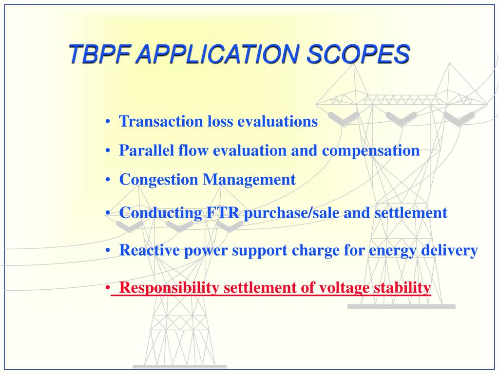 TBPF APPLICATION SCOPES