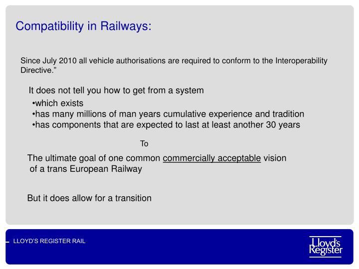 Compatibility in railways