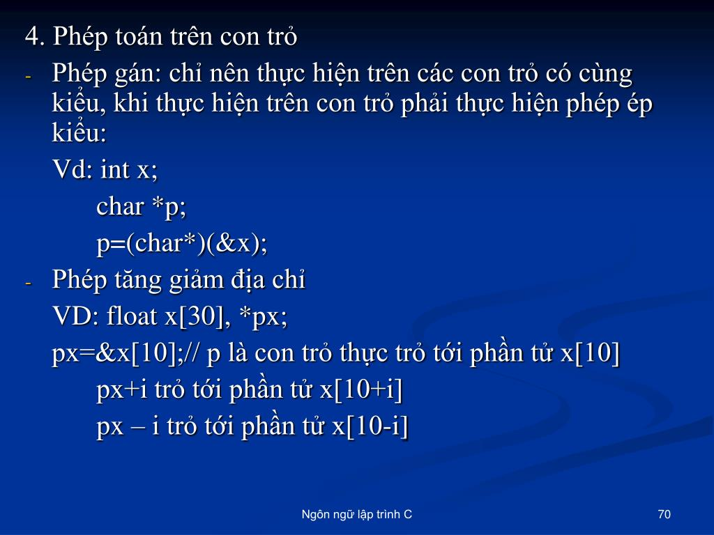 4. Phép toán trên con trỏ