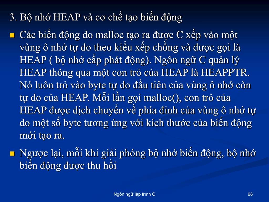 3. Bộ nhớ HEAP và cơ chế tạo biến động