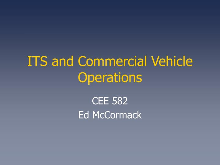 its and commercial vehicle operations n.