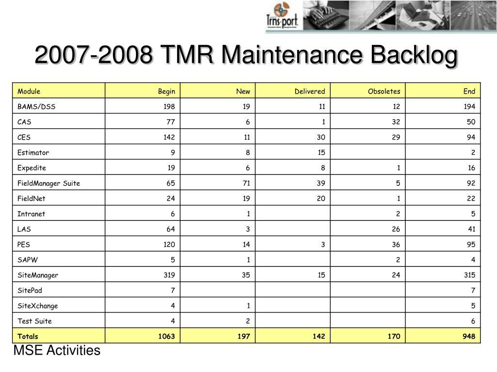 2007-2008 TMR Maintenance Backlog
