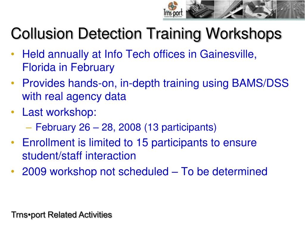 Collusion Detection Training Workshops