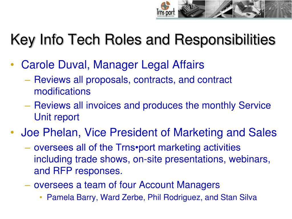 Key Info Tech Roles and Responsibilities