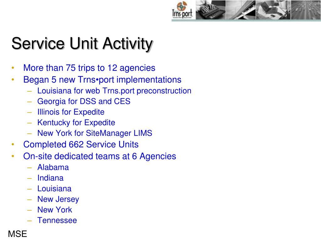 Service Unit Activity