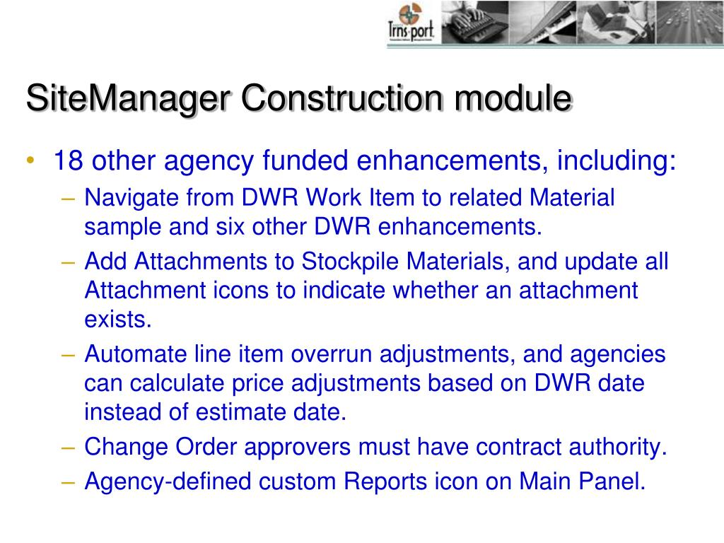 SiteManager Construction module