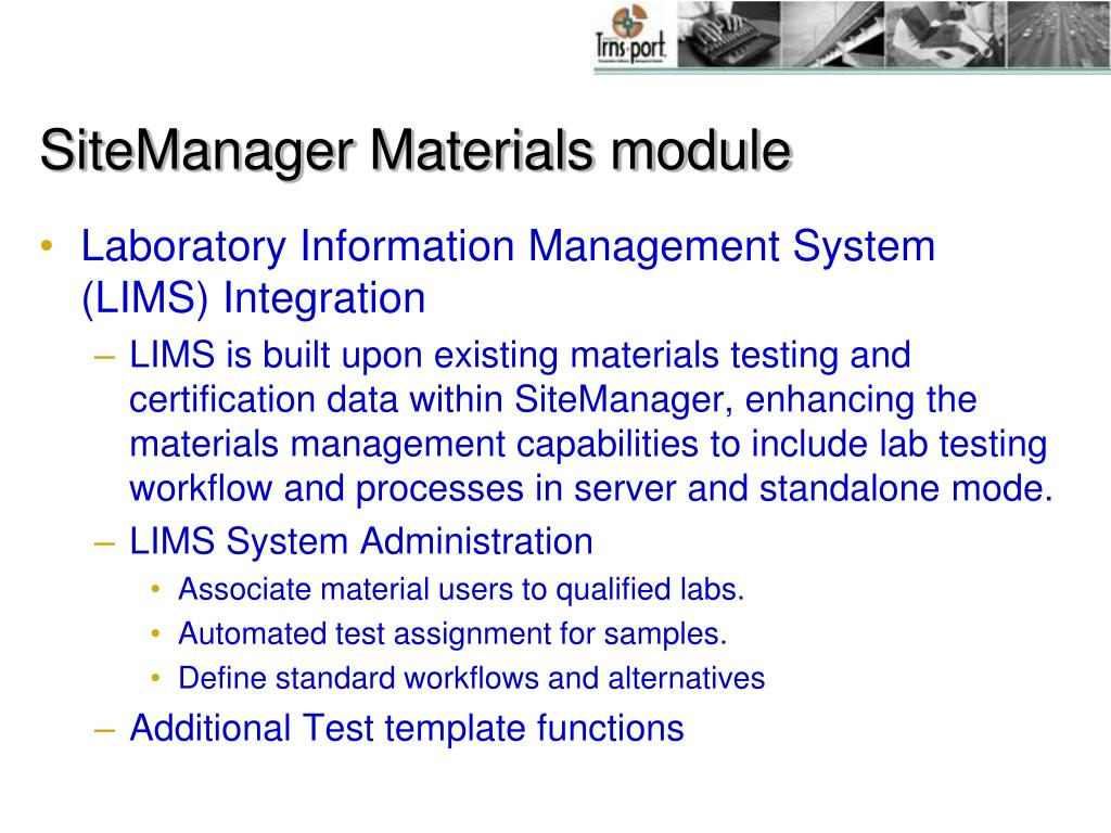 SiteManager Materials module