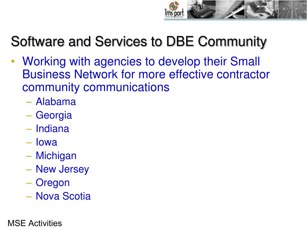 Software and Services to DBE Community