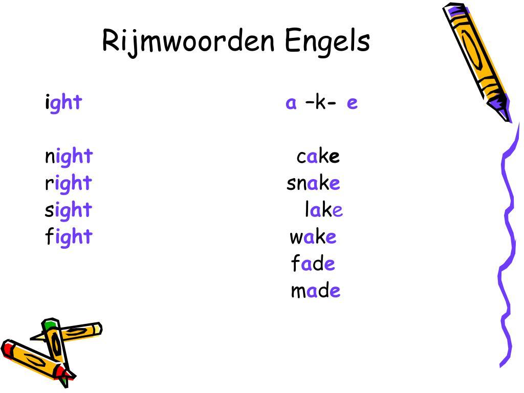 Rijmwoorden Engels