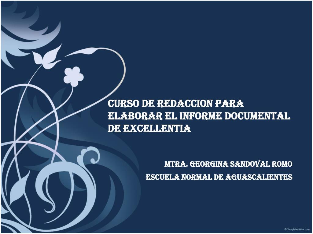 curso de redaccion para elaborar el informe documental de excellentia l.