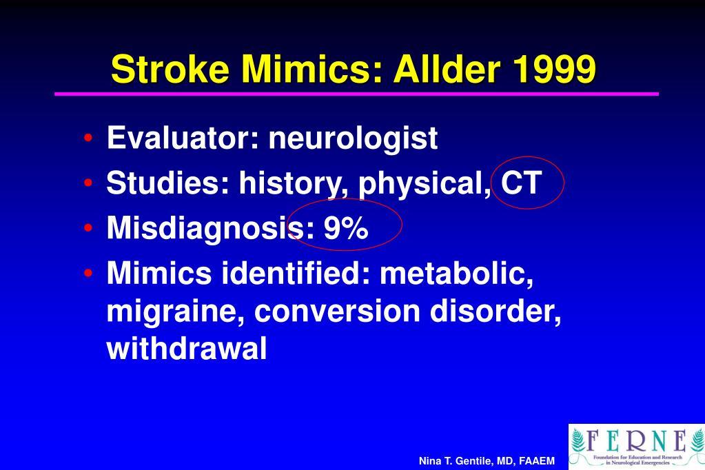 Stroke Mimics: Allder 1999