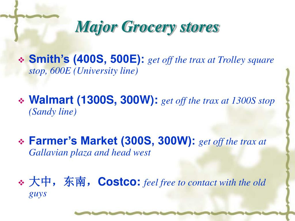 Major Grocery stores