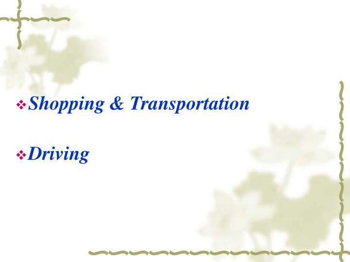Shopping & Transportation