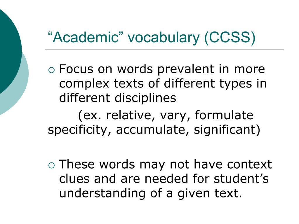 """Academic"" vocabulary (CCSS)"