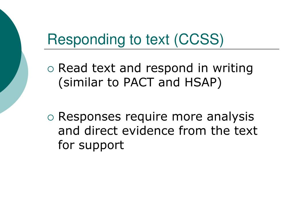 Responding to text (CCSS)