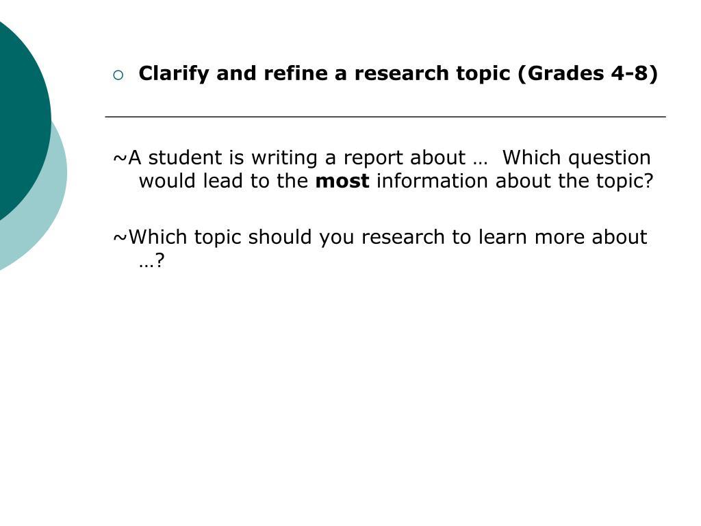 Clarify and refine a research topic (Grades 4-8)