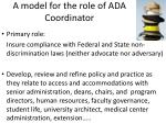 a model for the role of ada coordinator
