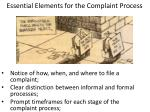 essential elements for the complaint process