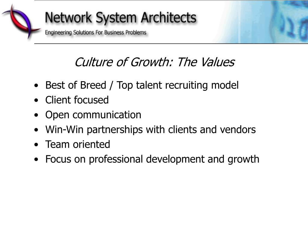 Culture of Growth: The Values