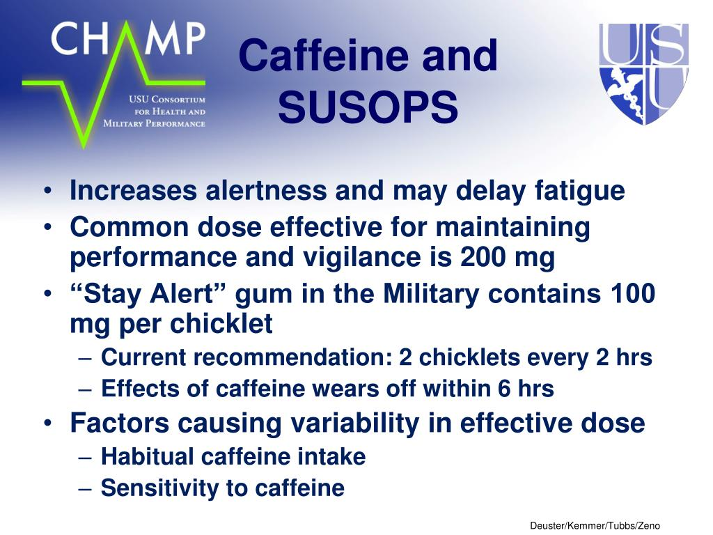Caffeine and SUSOPS