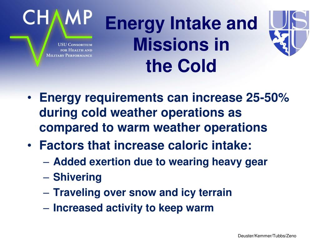 Energy Intake and Missions in