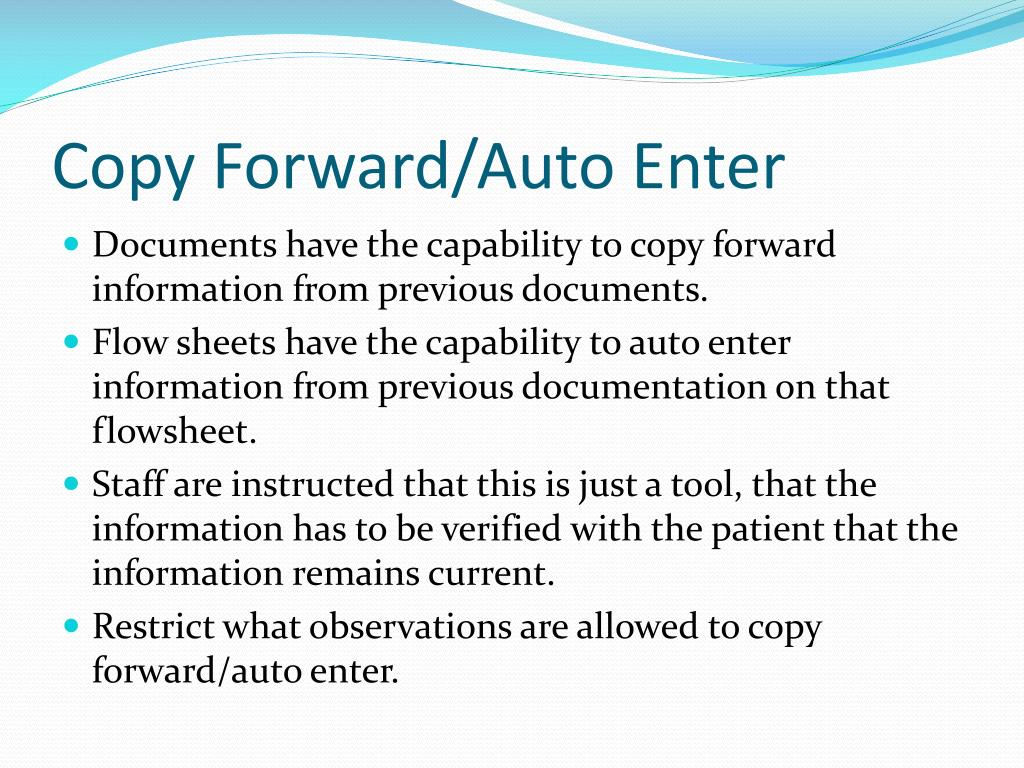 Copy Forward/Auto Enter