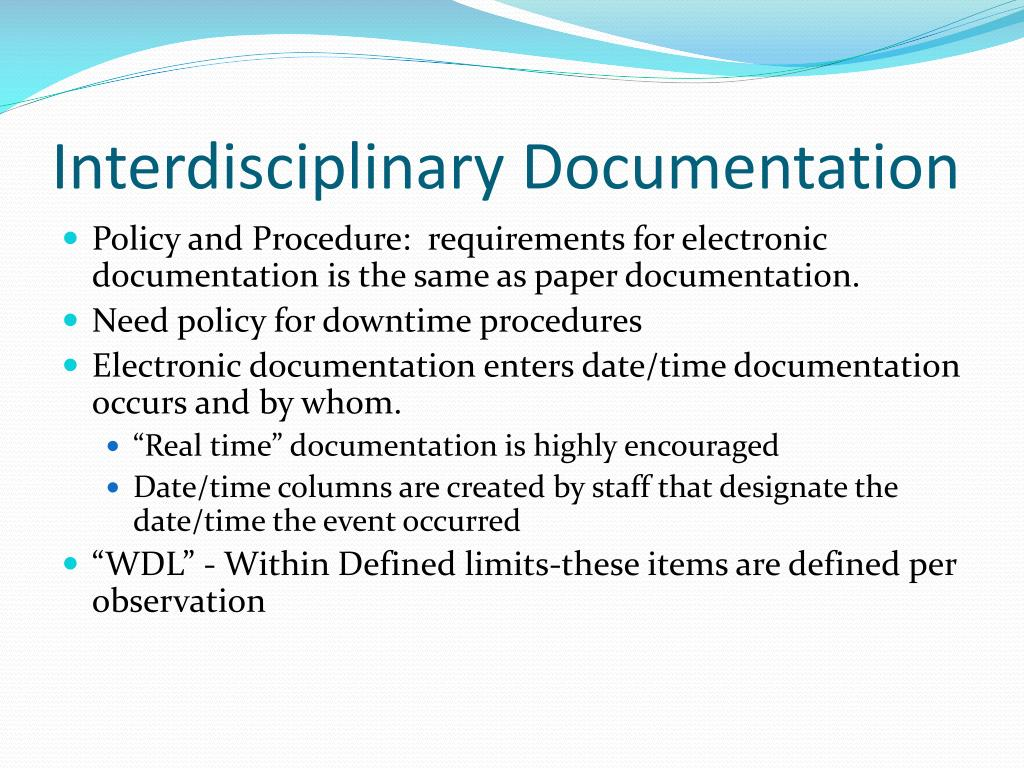 Interdisciplinary Documentation