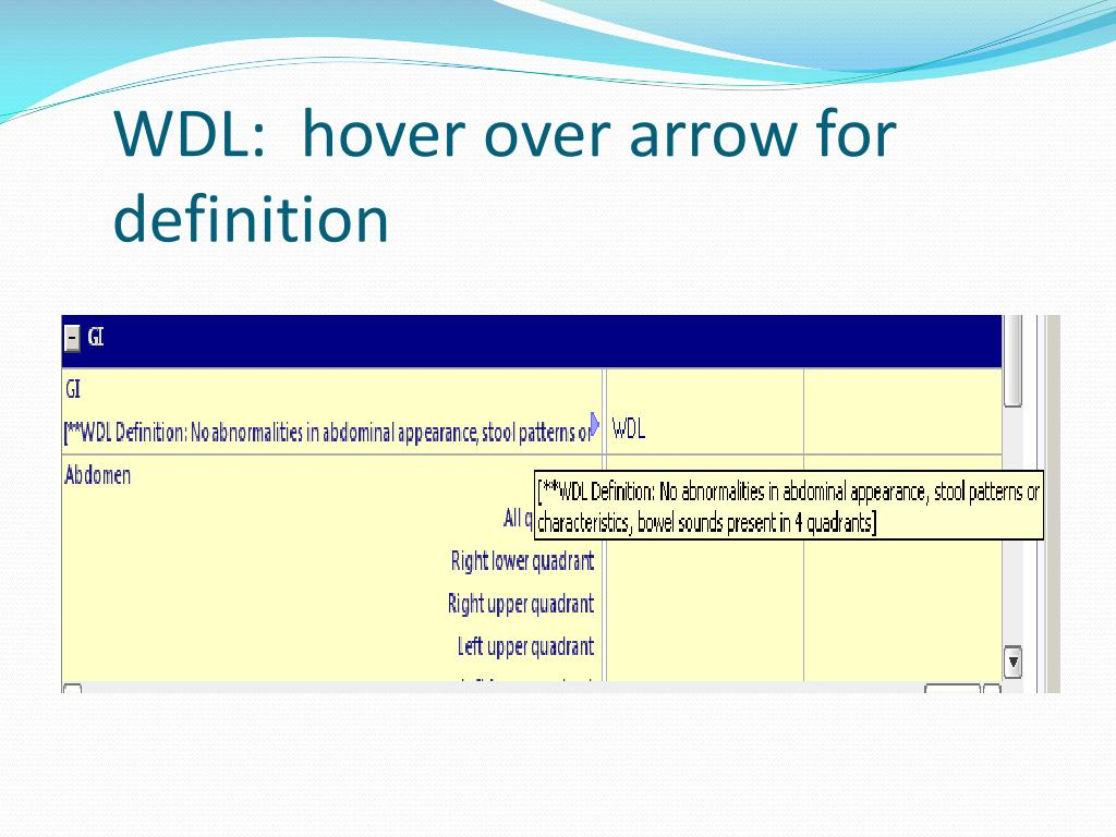 WDL:  hover over arrow for definition