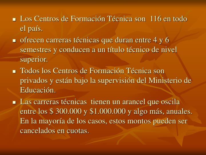 Los Centros de Formación Técnica son  116 en todo el país.