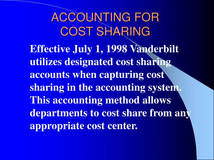 Accounting for cost sharing