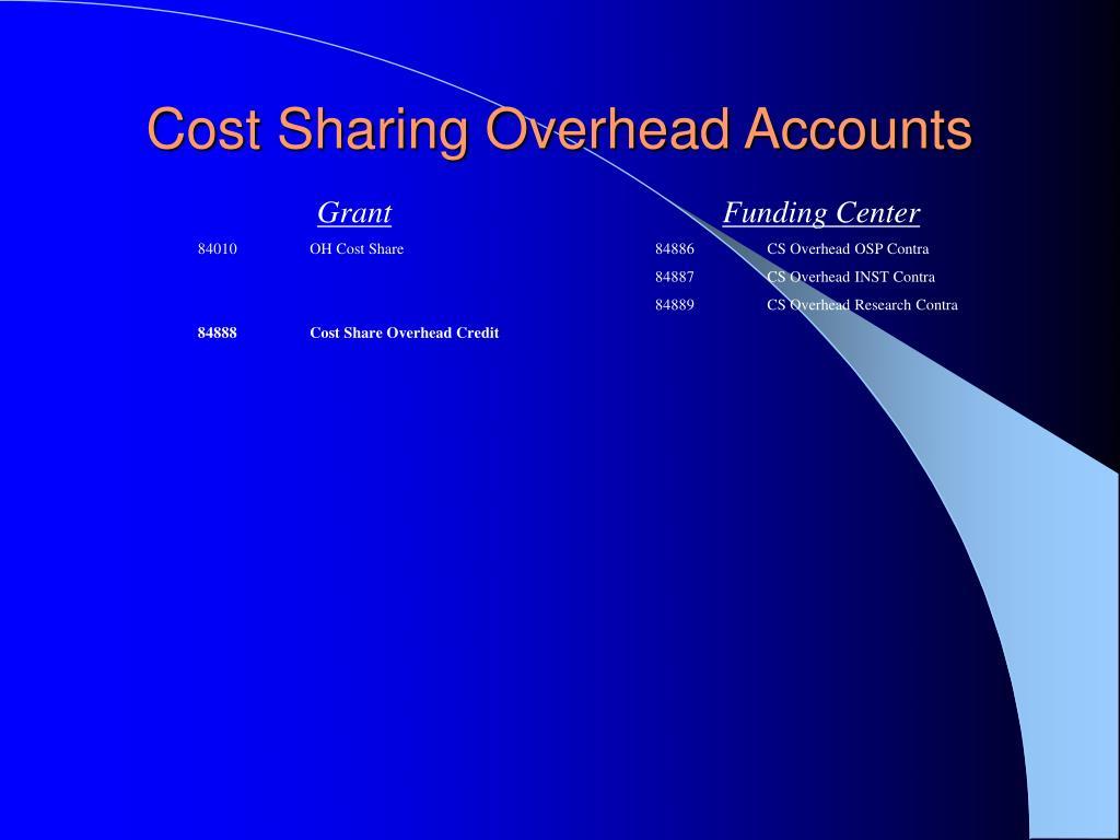 Cost Sharing Overhead Accounts
