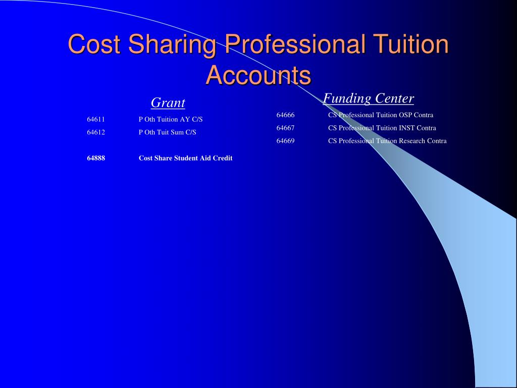 Cost Sharing Professional Tuition Accounts