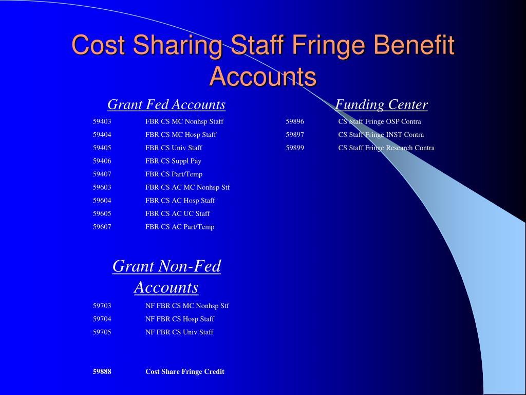 Cost Sharing Staff Fringe Benefit Accounts