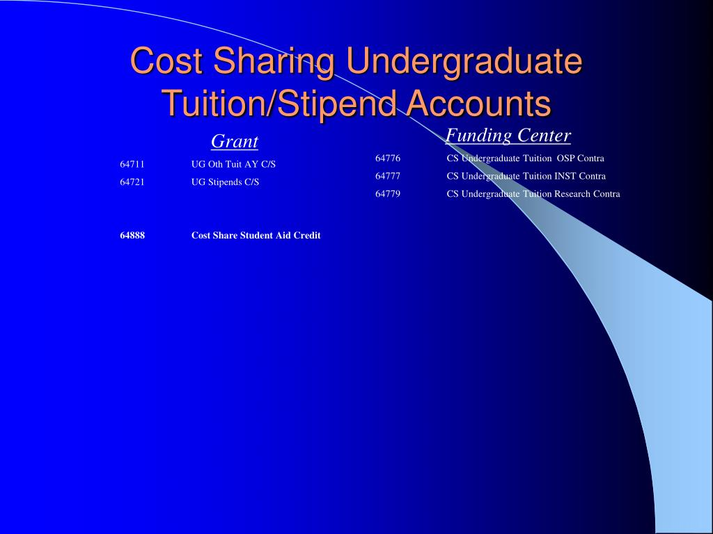 Cost Sharing Undergraduate Tuition/Stipend Accounts