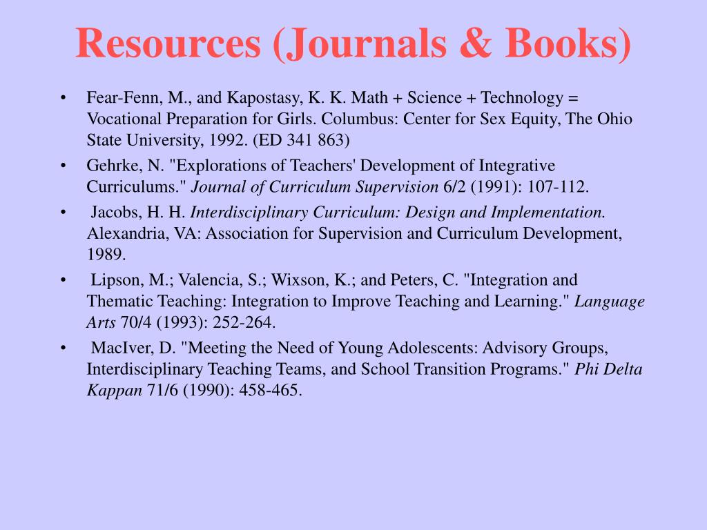 Resources (Journals & Books)