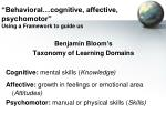 behavioral cognitive affective psychomotor using a framework to guide us