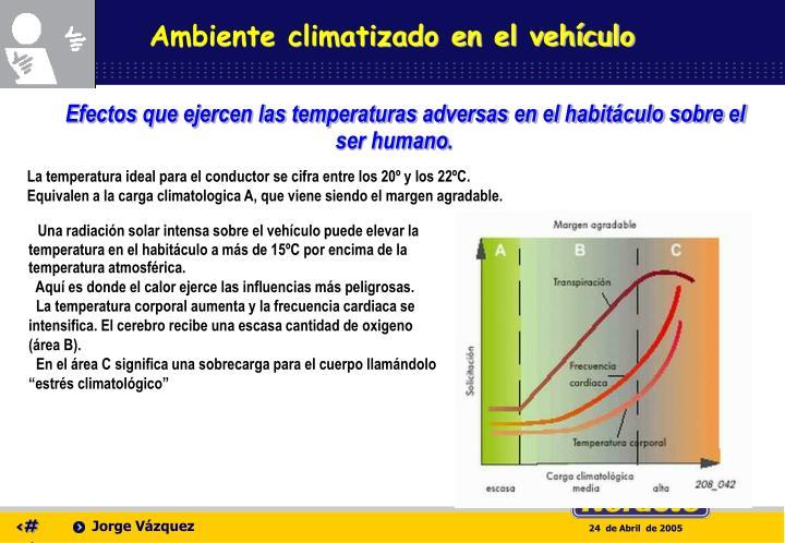 Ambiente climatizado en el vehículo