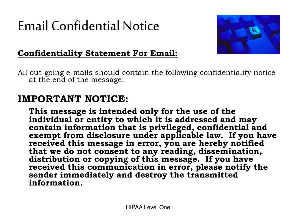 Email Confidential Notice