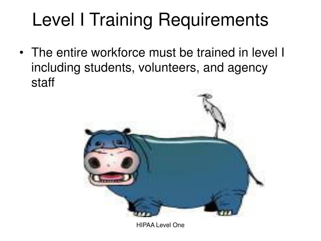 Level I Training Requirements
